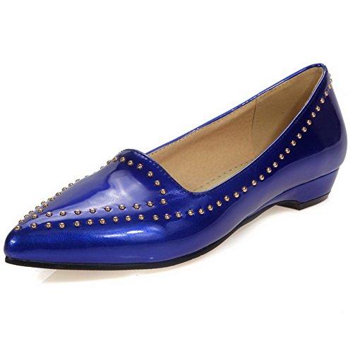 AllhqFashion Damen Spitz Zehe PU Leder Eingelegt Niedriger Absatz Pumps Schuhe Blau