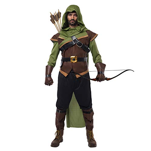Spooktacular Creations Renaissance Robin Hood Deluxe Men Costume Set Made of Leather for Halloween Dress Up Party (Small) Brown -