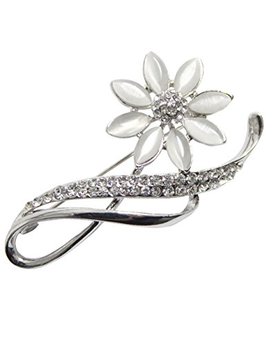 (Dahlia Women's Brooch Pin - Faux Opal Flower with Rhinestone Leaf - Silver Tone)