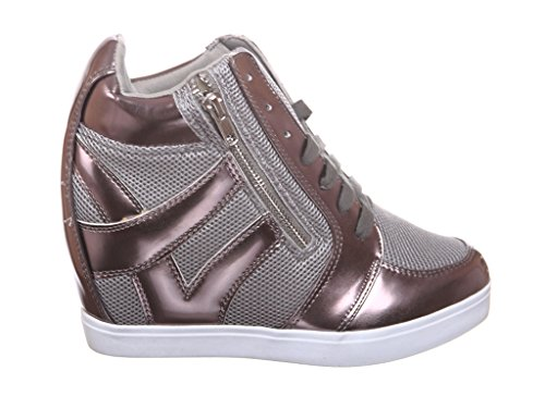 Shoewhatever Womens Pl Hi-top Zeppa Stringate Moda Sneakers F_pewter