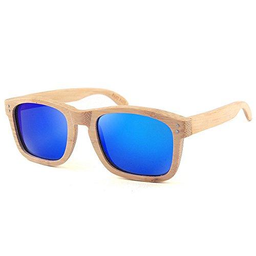 bambou de des couleur Personnalité polarisée lunettes lunettes la de soleil en bleu pêche TAC conduite de qualité lentille de à haute Nouvelles protection vacances hommes plage Wayfarer soleil main UV Z18xR15qn