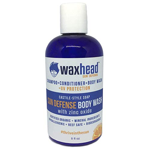 NEW Waxhead Sun Protection Body Wash + Shampoo. Sun Protection for Hair, Scalp Sunscreen, Biodegradable, Castile Soap Liquid, Camping Soap, Organic, Sensitive Skin, Face, Eczema Safe, - Sunscreen Scalp Hair