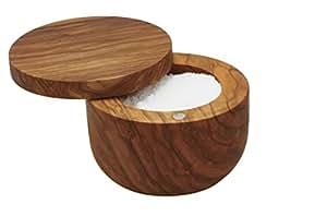 "Bisetti Olive Wood Salt Keeper, 3.8"", Brown"