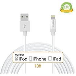 Kinps Apple MFi Certified Lightning to USB Cable 10ft/3m iPhone Charger Cord Super Long for iPhone X/8/8 Plus/7/7 Plus/6S/6S Plus/6/6 Plus/SE, iPad Pro/Air/Mini (White, 1 Pack)
