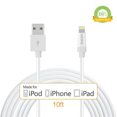 Kinps Apple MFi Certified Lightning to USB Cable 10ft/3m iPhone Charger Cord Super Long for iPhone X / 8 / 8 Plus / 7 / 7 Plus / 6S / 6S Plus / 6 / 6 Plus / SE, iPad Pro / Air / Mini (White, 1 Pack)