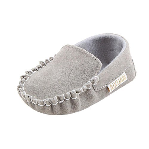 DDLBiz Baby Boys Girls Double Velour Soft Sole Shoe Soft Shoes Flats Shoes (0~6Month/4.3inch, Gray)
