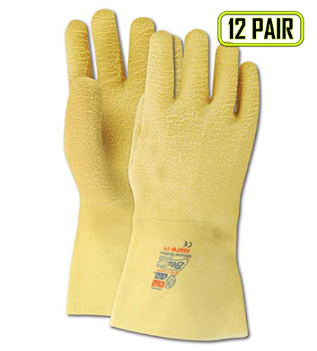 Showa Best 2482 SHOWA Best Guard Nitty Gritty Yellow Rubber Fully Coated Gloves, Natural, Men's (Fits Large) (Pack of 12)