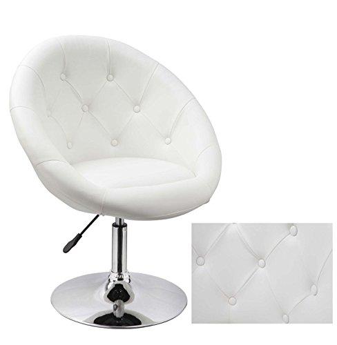 Duhome 0332 Sessel in Weiß höhenverstellbar Kunstleder Clubsessel Coctailsessel Loungesessel
