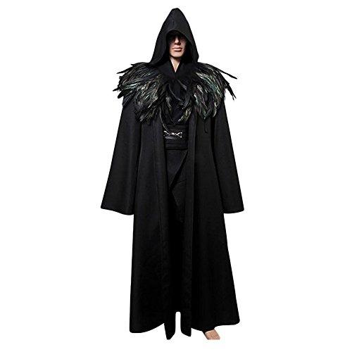 Feather Cape Costume (L'vow Fashion Gothic Hooded Mens Black Feather Cape Cloak Long Coats (XL(Mens)))