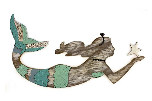 Teal Blue and Green Mermaid Swimming Wood Wall Plaque 19 Inches