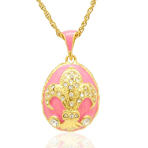 MYD Jewelry Big Enameled Handmade Fleur De Lis French Flower Russian Egg Faberge Style Pendants Necklaces (Pink)