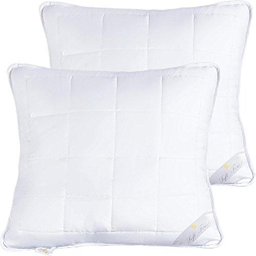 aqua-textil Kopfkissen Doppelpack | weiches Kissen mit Reißverschluss | weitere Varianten wählbar | 2x 80 x 80 cm je ca. 1300g Hohlfaser-Füllung | Serie Soft Touch 2000000