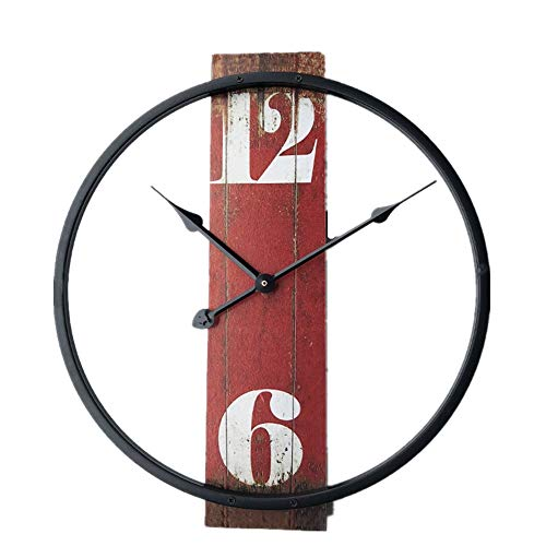 InsLooks Wood Wall Clock Modern Metal Non-Ticking Clock Battery Operated Decorative Round Contemporary Wall Clock for Living Room Bedroom Red