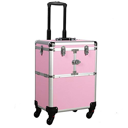 Yaheetech Professional Pink Rolling Makeup Artist Case - Portable Travel Makeup Trolley Cosmetic Case Beauty Train Case Cosmetic Organizer