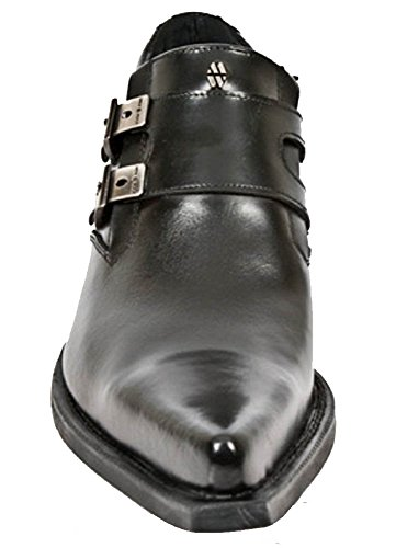 New Side Formal Shoe Noir Buckles Style with Cuban Heel Rock Argent grgAp