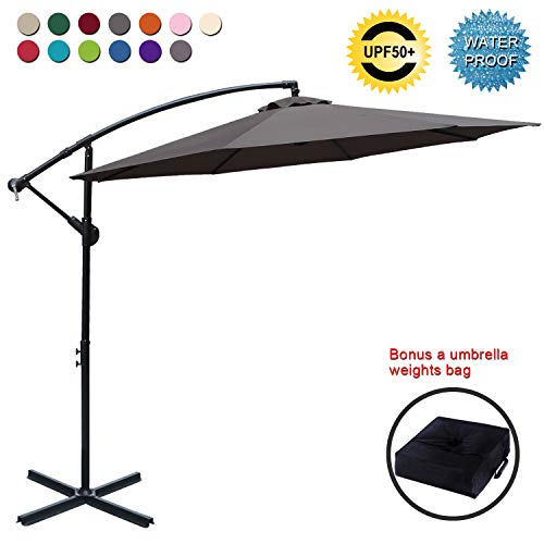 ABCCANOPY Patio Umbrellas Cantilever Umbrella Offset Hanging Umbrellas 10 FT Outdoor Market Umbrella with Crank & Cross Base for Garden, Deck, Backyard, Pool and Beach, 12+ Colors, (Tan) ()