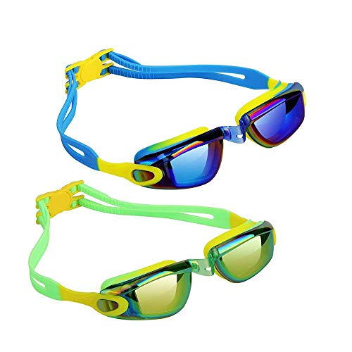 Hurdilen Kids Swim Goggles,2 Pack,Swim Goggles for Kids Swimming Goggles with Anti-Fog UV Protection No Leaking Coated Lens for Boys Girls Youth Kids (Blue&Green)