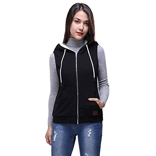 Cotton Velvet Vest (Fancyqube Women's Arctic Velvet Cotton Sleeveless Zip Up Hooded Vest Black L)
