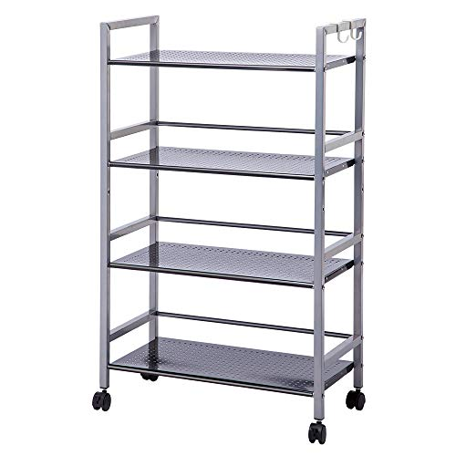(SINGAYE 4-Tier Shelving Unit Kitchen Rack Storage Cart with Easy Moving Wheels,Adjustable Microwave Storage Shelf Rolling Cart on Square Tube,55 lbs Weight Capacity, Silver)
