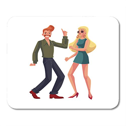 Emvency Mouse Pads Red Haired Man and Blond Woman 1970S Dancing Disco Cartoon White with Beehive and Girl in Short 1960S Mouse Pad 9.5