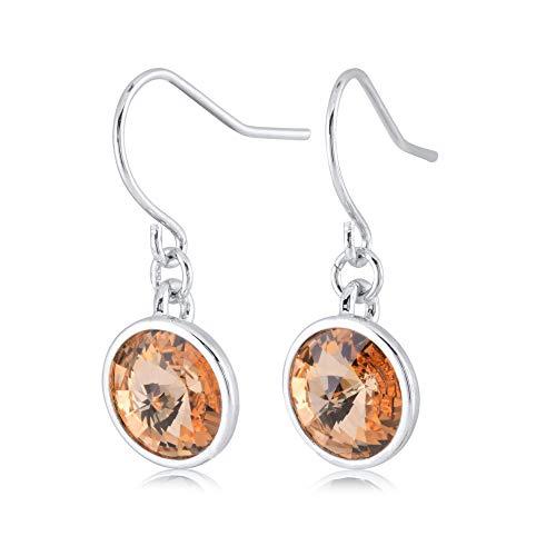 (UPSERA Golden Shadow Drop Dangle Earrings for Women Girls Crystals from Swarovski Silver Tone Plated Earrings Jewelry)