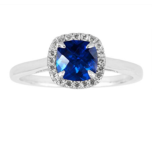Lab Created Blue Sapphire Ring Created in Sterling Silver White Sapphire Halo (Sapphire Ring Created Lab)