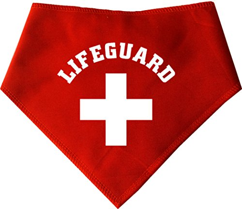 Spoilt Rotten Pets (S3) Life Guard Dog Bandana - Size 3 - For Bay Watch Sea Dogs – LIFE GUARD - Four Adjustable Sizes Available From A Tiny Chihuahua to An Extra Large St Bernard (SIZE 3 Medium/Large – Fits 17'- 22' Neck)