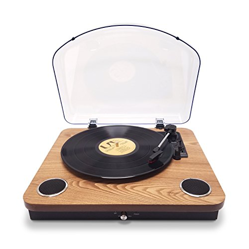 Photive Spin Vinyl Record Player with Built-in Speakers | 3-Speed Stereo USB Turntable Supports Vinyl to MP3 Recording | Bluetooth and RCA Connectivity (Natural Wood)