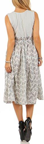 malito Vestido de Verano rayas Mandil Vestido de Cóctel 10642 Mujer Talla Ùnica gris claro