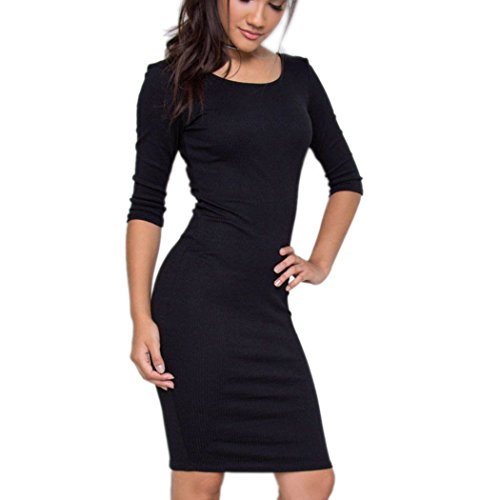 autumn-melody-stylish-women-sexy-solid-color-package-hip-skirt-back-zipper-deep-v-dresses-size-m-us