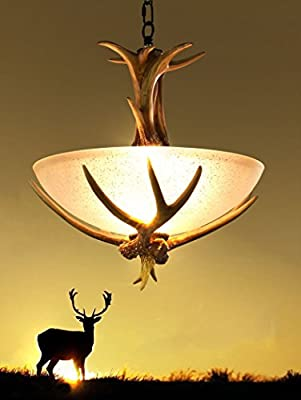 2 Lamps Antlers Chandeliers Resin RH Ceiling Lights Bedroom Dining Room Lighting
