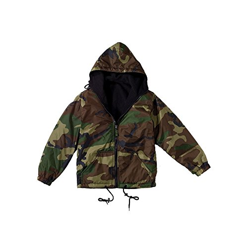 Kids Jacket - Reversible Fleece-Lined, Woodland Camo, Medium by Rothco (Reversible Woodland Jacket Camo Nylon)