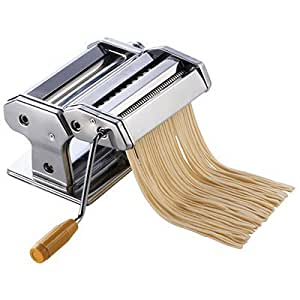 """Winco NPM-7, 7"""" Wide Pasta Maker with Detachable Cutter, Stainless Steel Pasta Machine"""