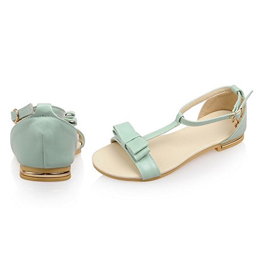 COOLCEPT Mujer Moda Correa en T Sandalias Punta Abierta Zapatos Bowknot Verde