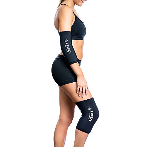 Freeze Sleeve Cold Therapy Compression Sleeve - Black - Large - Natural Pain Relief Sleeve for Muscles & Joints - Sized for Men, Women & Kids - Made in USA - In Men Black Female
