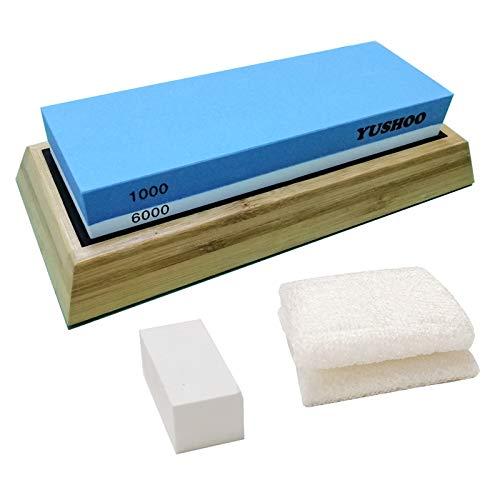 Whetstone Sharpening Stone Set, Yushoo Premium 2 Side Whetstone Sharpener 1000/6000 Waterstone Kit with Bamboo Base, Flattening Stone and Reusable Towel for Home & Kitchen