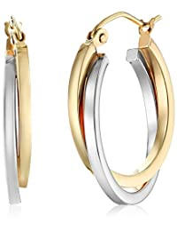 10k White and Yellow Gold Twisted Hoop Earrings