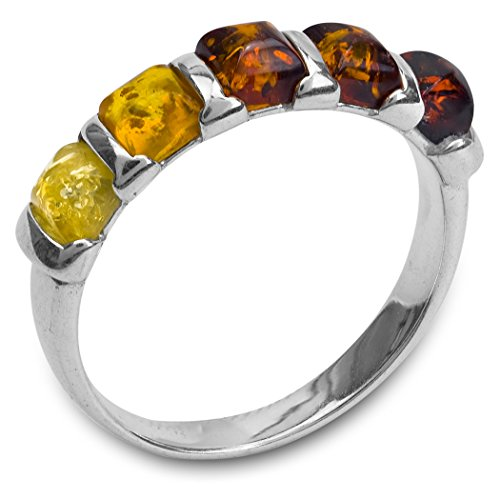 Amber Stone Jewelry - Multicolor Amber Sterling Silver Squares Ring