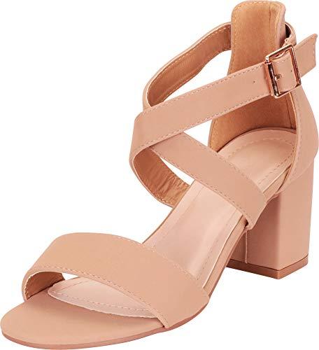 (Cambridge Select Women's Crisscross Strappy Chunky Block Mid Heel Sandal,10 B(M) US,Tan NBPU )