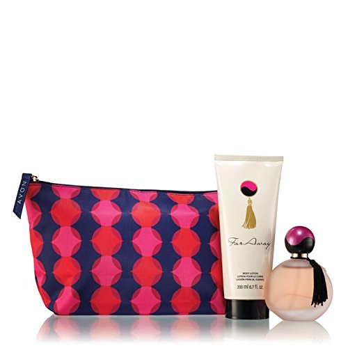 Avon Far Away Gift Set, 3 pcs. Pouch, Eau De Parfum Spray, and Body Lotion (Far Away Perfume Set)