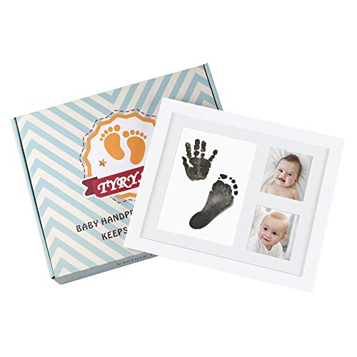 TYRY.HU Baby Handprint Kit Footprint Keepsake Photo Frame with Ink Pad for Newborn Boys and Girls, Photo Album for Baby Shower Registry, Personalized Baby Gifts ()