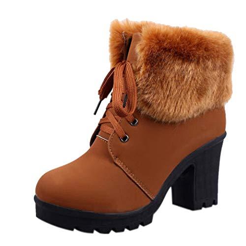 (��AutumnFall��2018 Hot Fashion Women High Heel Half Short Ankle Boots Winter Martin Snow Botas Fashion Footwear Warm Heels Boot Shoes (US:8, Brown))
