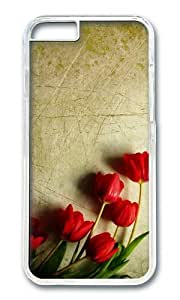 MOKSHOP Adorable grunge red tulips Hard Case Protective Shell Cell Phone Cover For Apple Iphone 6 Plus (5.5 Inch) - PC Transparent