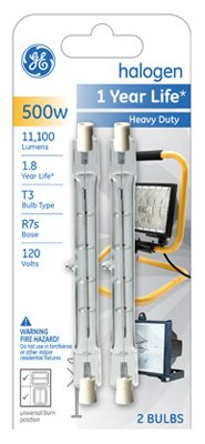 G E Lighting 97674 2-Pack 500-Watt Quartzline Halogen Heavy-Duty Lamps - Quantity 5