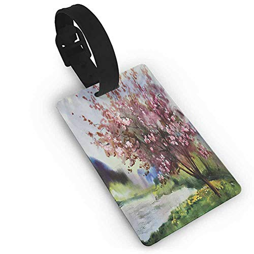 Creative boarding pass Country,Painting of Spring Landscape Blooming Nature Flowering Tree and Fresh Grass Nature,Pink Green Address Tags ()