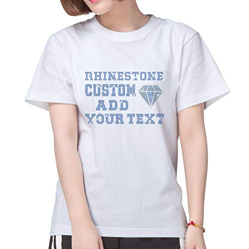 (Custom T-Shirt Personalized Tee Shirts for Women Add Your Own Text Design with Bling Lead Free Rhinestone (White L))