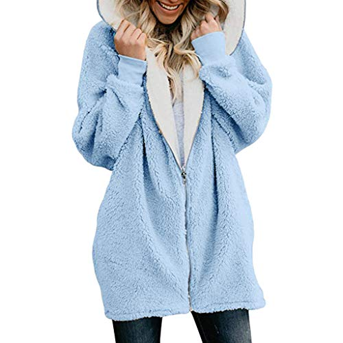 Womens Solid Oversized Zip Down Hooded Fluffy Coat Cardigans Outwear with Pocket ()