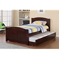 Twin Bed with Trundle in Cherry Wood by Poundex