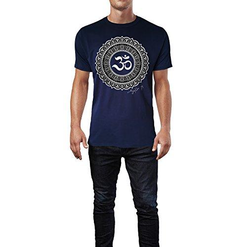 SINUS ART ® Henna Tattoo Mandala Herren T-Shirts in Navy Blau Fun Shirt mit tollen Aufdruck