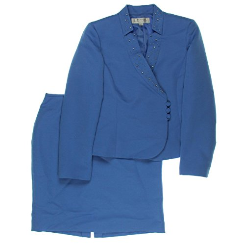 Tahari ASL Women's Petite Eason Skirt Suit, Periwinkle, 8...